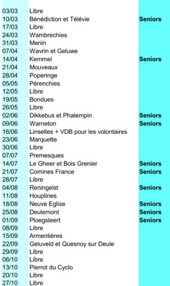 Calendrier Cyclo 2020.Calendrier Des Sorties Du Club